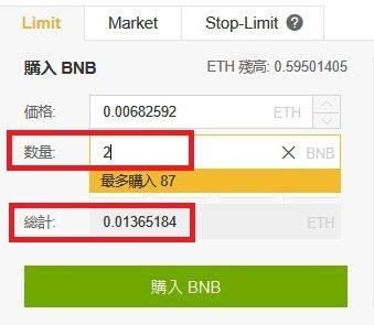 BNB購入数量